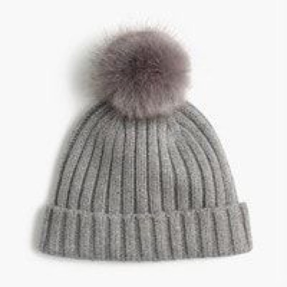 J.Crew Ribbed Beanie With Faux-Fur Pom-Pom NWT